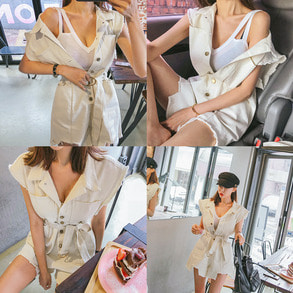 Dabagirl Distressed Button-Front Romper