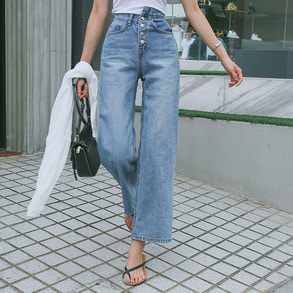 Dabagirl Asymmetrical Mid Rise Wide Leg Jeans