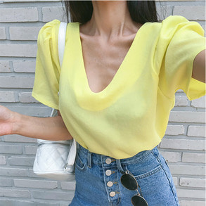 Dabagirl Gathered Sleeve Solid Tone Blouse