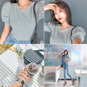 Dabagirl Puff Sleeve Stripe T-Shirt