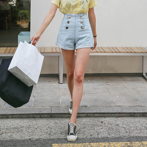 Dabagirl Buttoned High Waist Denim Shorts