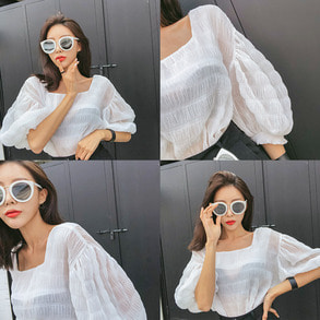 Dabagirl Square Neck Puff Sleeve Blouse