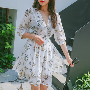 Dabagirl Balloon Sleeve Floral Dress