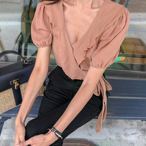 Dabagirl Frilled Neck Puff Sleeve Blouse