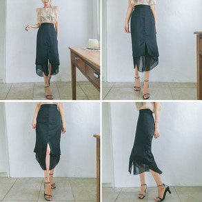 Dabagirl Front Slit High Waist Skirt