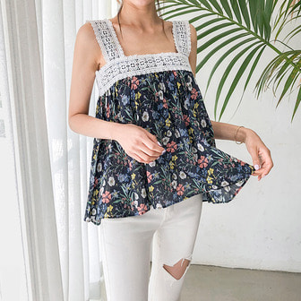 Dabagirl Lace Floral Sleeveless Top