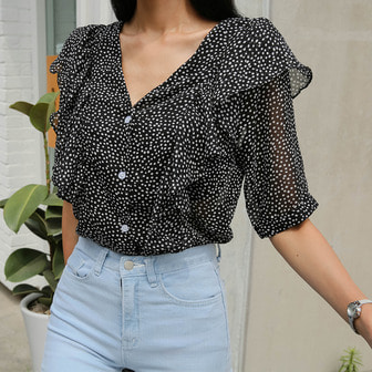 Dabagirl Puff Sleeve Polka Dot Blouse