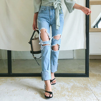 Dabagirl Cuffed Distressed Jeans