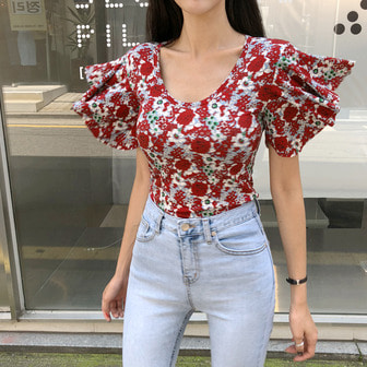 Dabagirl Scoop Neck Graphic Print Top