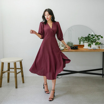 Dabagirl V-Neck Puff Sleeve Dress