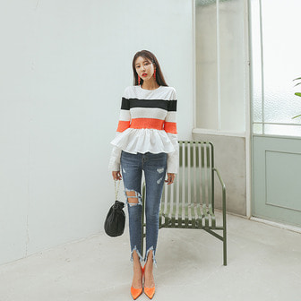 Dabagirl Frill Contrast Color Blouse