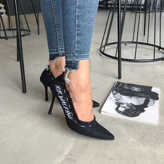 Dabagirl Frayed Stitch Accent Pumps