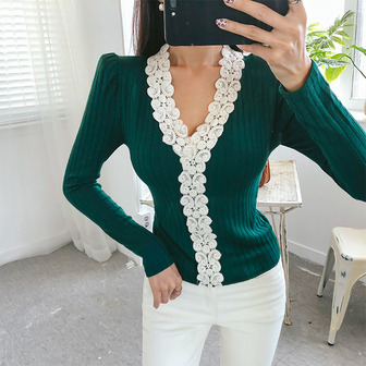 Dabagirl Lace Embellished V-Neck Top