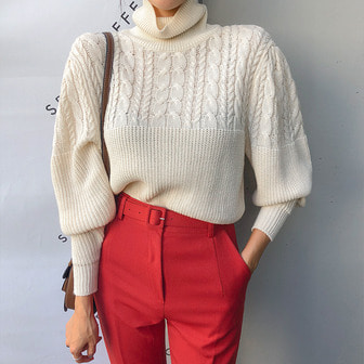 Dabagirl Turtleneck Puff Sleeve Knit Top