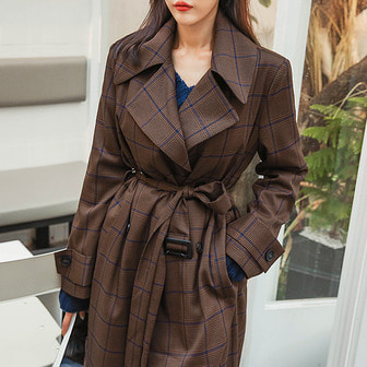 Dabagirl Double Breasted Check Trench Coat