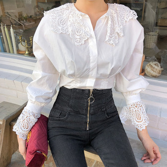 Dabagirl Lace Collar Button-Up Blouse