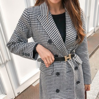 Dabagirl Double Breasted Houndstooth Coat