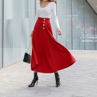 Dabagirl 4-Button Flared Midi Skirt