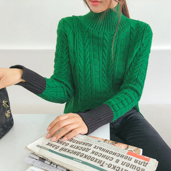Dabagirl Turtleneck Cable Knit Top