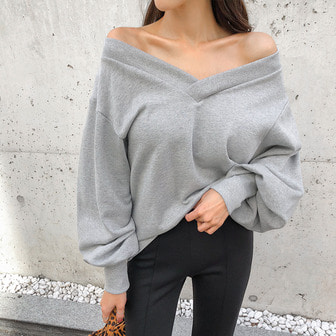 Dabagirl V-Neck Balloon Sleeve Sweatshirt