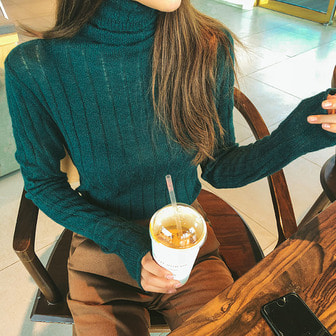 Dabagirl Long Sleeve Ribbed Turtleneck Knit Top