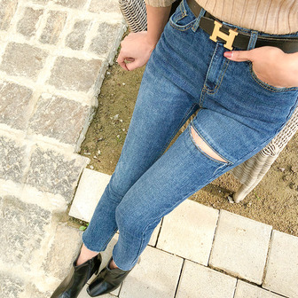 Dabagirl High Waist Ripped Thigh Jeans