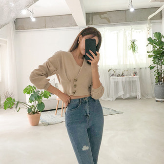Dabagirl Side Button Crop Blouse