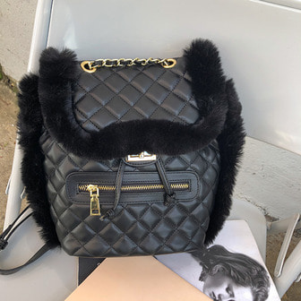 Dabagirl Quilted Faux Fur Bag