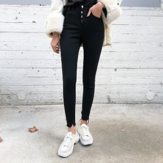 Dabagirl 4-Button Mid Rise Skinny Pants