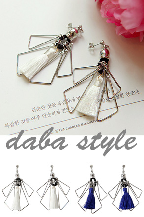Dabagirl Tassel and Cutout Triangle Earrings