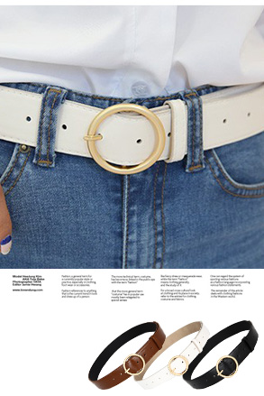 Dabagirl Circle Buckle Pleather Belt