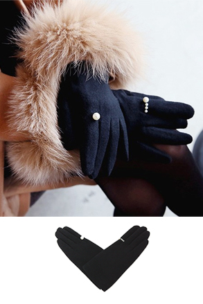 Dabagirl Faux Pearl Accent Woolen Hand Gloves