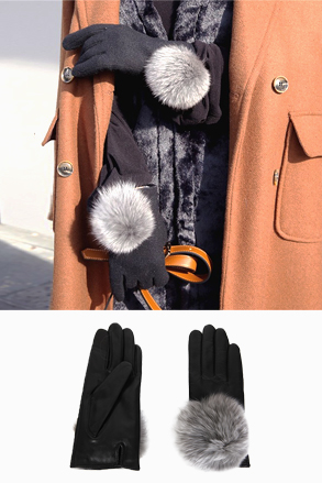 Dabagirl Fur-Accented Coated Gloves