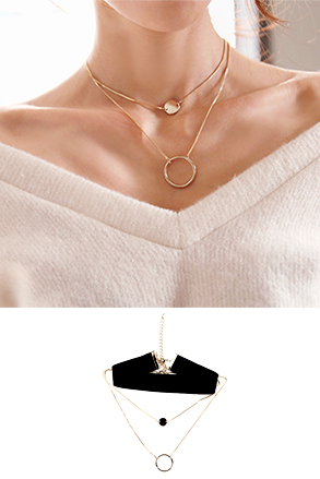 Dabagirl Velvet and Layered Necklace Set