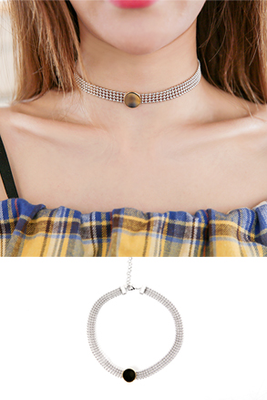 Dabagirl Flat Disc Beaded Choker