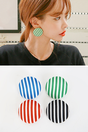 Dabagirl Big Striped Button Stud Earrings