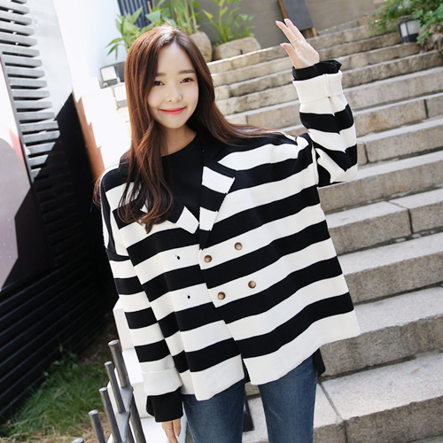 Striped Double-Breasted Knit Cardigan