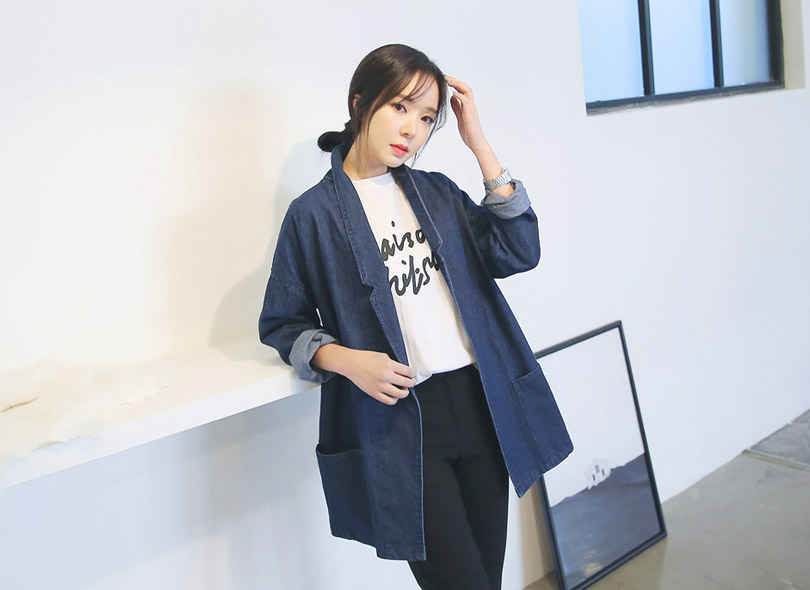 Notched Lapel-Collared Denim Jacket