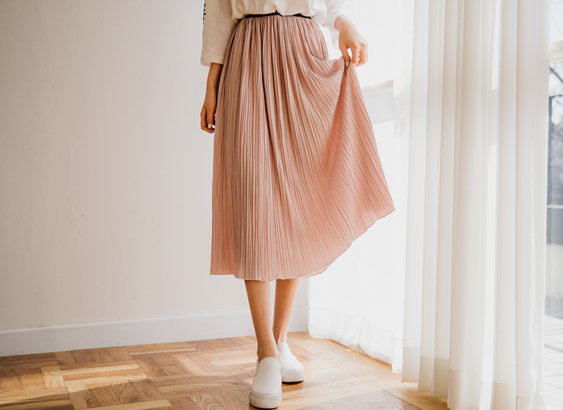 Pleated Tea-Length Skirt