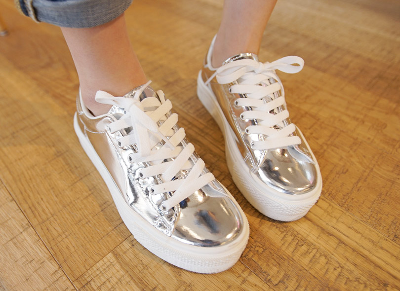 Glossy Silver Lace-Up Sneakers