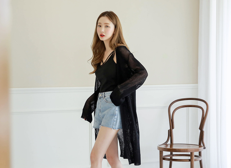 Side-Slit Sheer Long Knit Cardigan