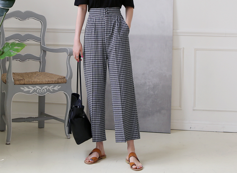 Double Button High Waist Check Pants