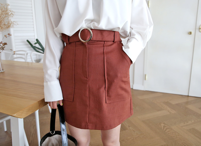 Buckle Detail Elastic Waistband Skirt