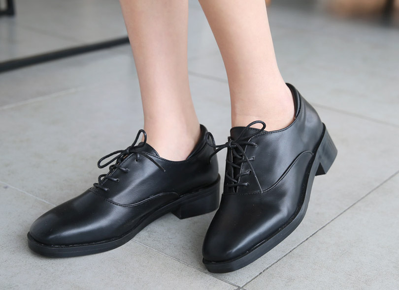 Faux Leather Lace-Up Loafers