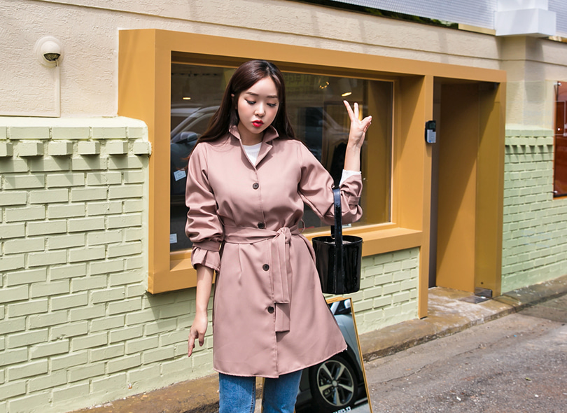 Notched Collar Tie-Waist Trench Coat