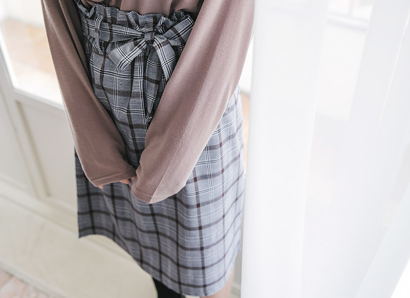 Ribbon Detail Waist Check Skirt