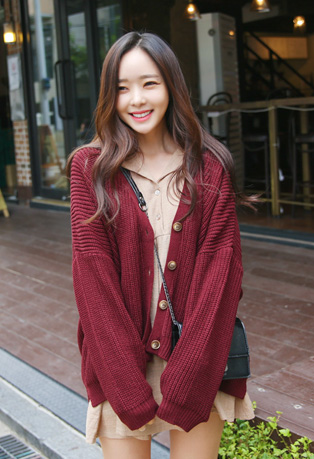 Ribbed Button Up Knit Cardigan