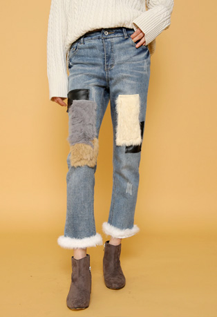 Mink Fur-Accented Faded Jeans