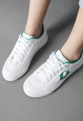 Star-Accented Sides Pleather Plimsolls