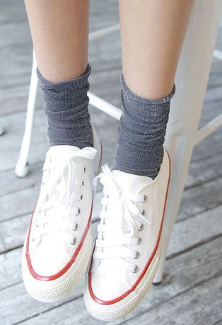 Ruched Ankles Glittery Socks